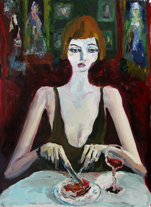 Bradley Wood, Woman eating steak